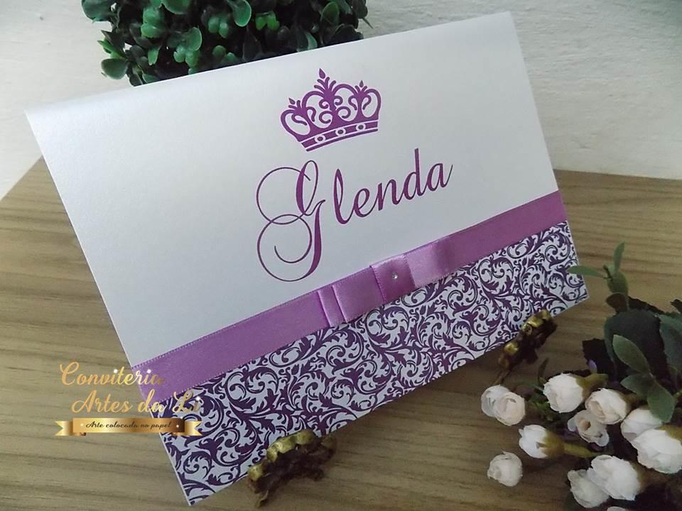 Convite De Quinze Anos: Convite 15 Anos,Casamento Papel Perolado Roxo/Lilás No