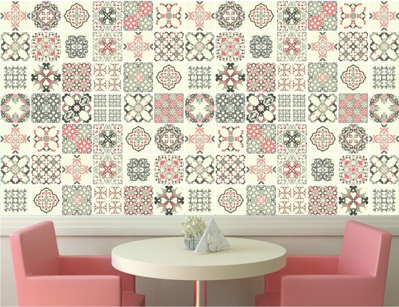 Papel de parede azulejo adesivo 02 quartinhodecorado elo7 - Papel para azulejos de bano ...