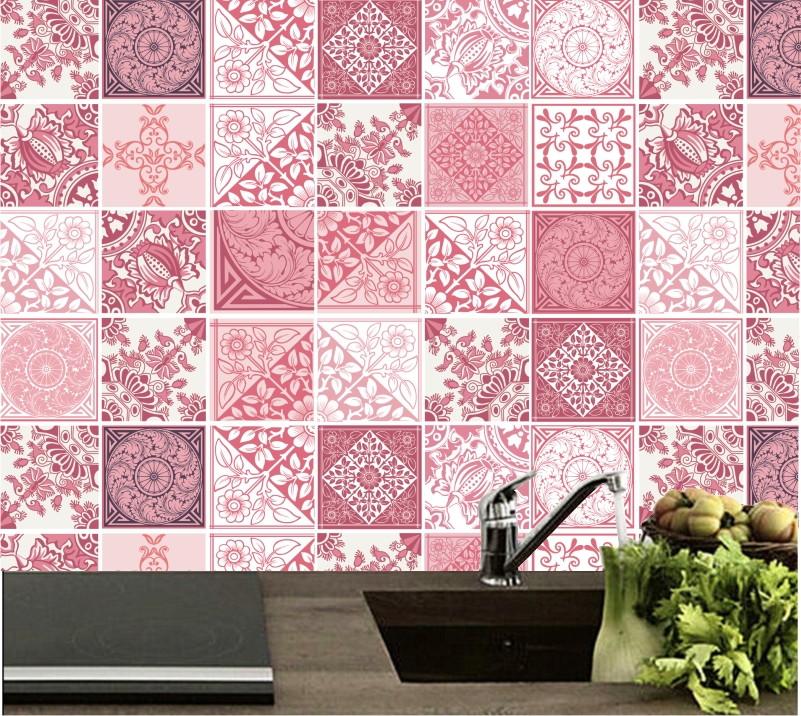 zoom adesivo azulejo rosa cozinha m16 - Azulejos Rosa