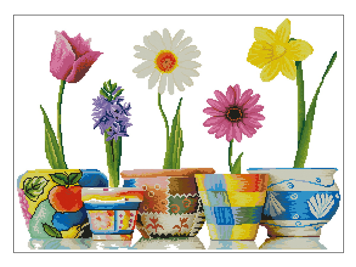 6a8ed2800 Flores e Vasos Coloridos - Gráfico Ponto Cruz no Elo7 | Thimage ...