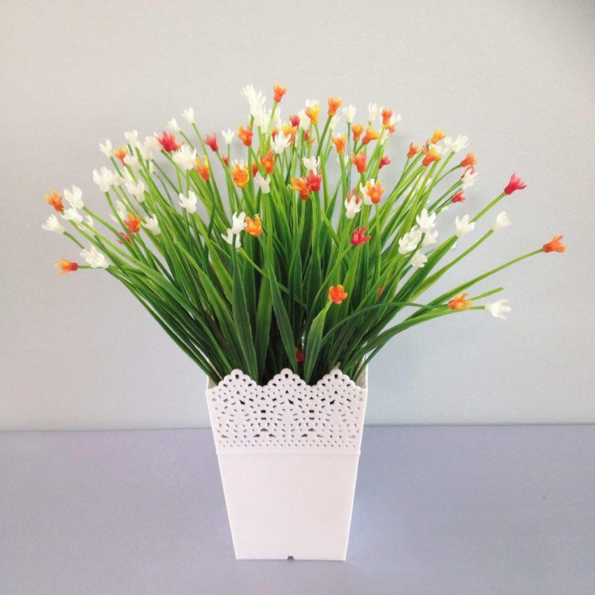 Arranjo capim mini flores artificial miranda arranjos for Plantas decorativas de plastico