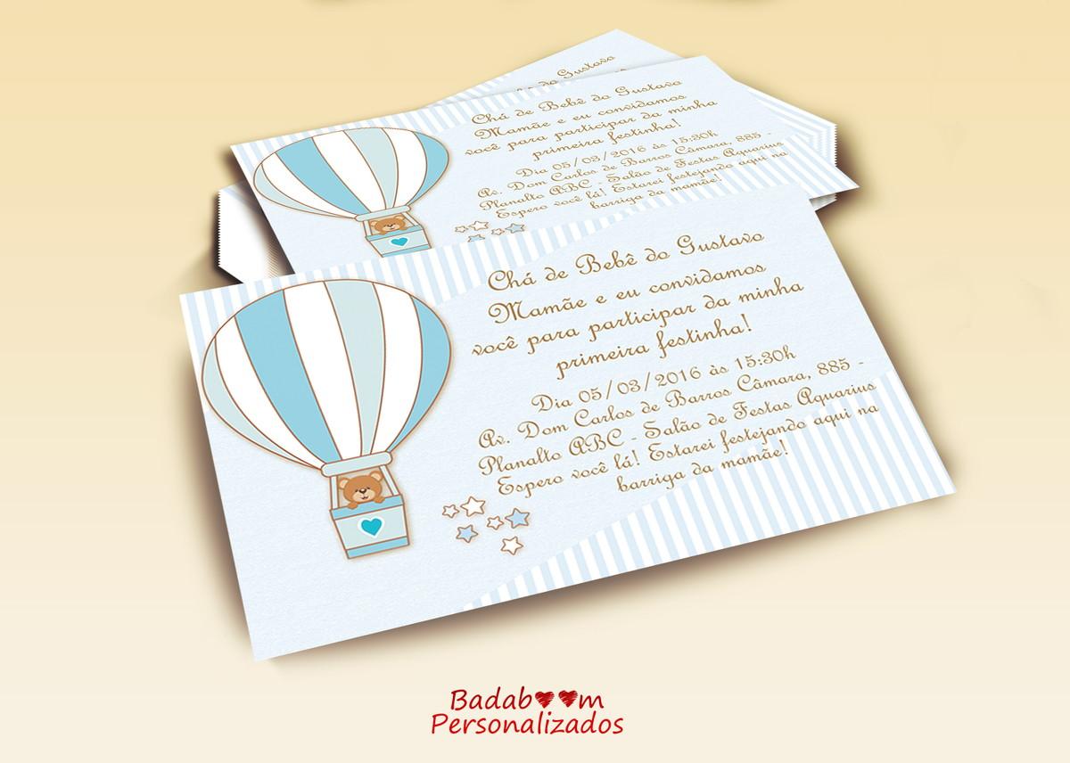 Convite Chá De Bebê Urso No Balão No Elo7 Badaboom Personalizados
