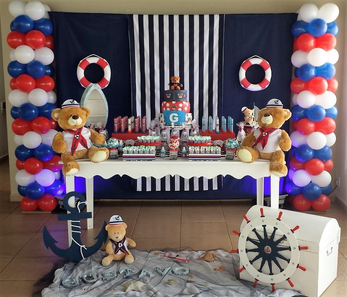 Chá de Beb u00ea Urso Marinheiro no Elo7 Sonho Meu Decoraç u00e3o de Festas e Eventos (6E38A1) -> Decoração Cha De Bebe Tema Urso