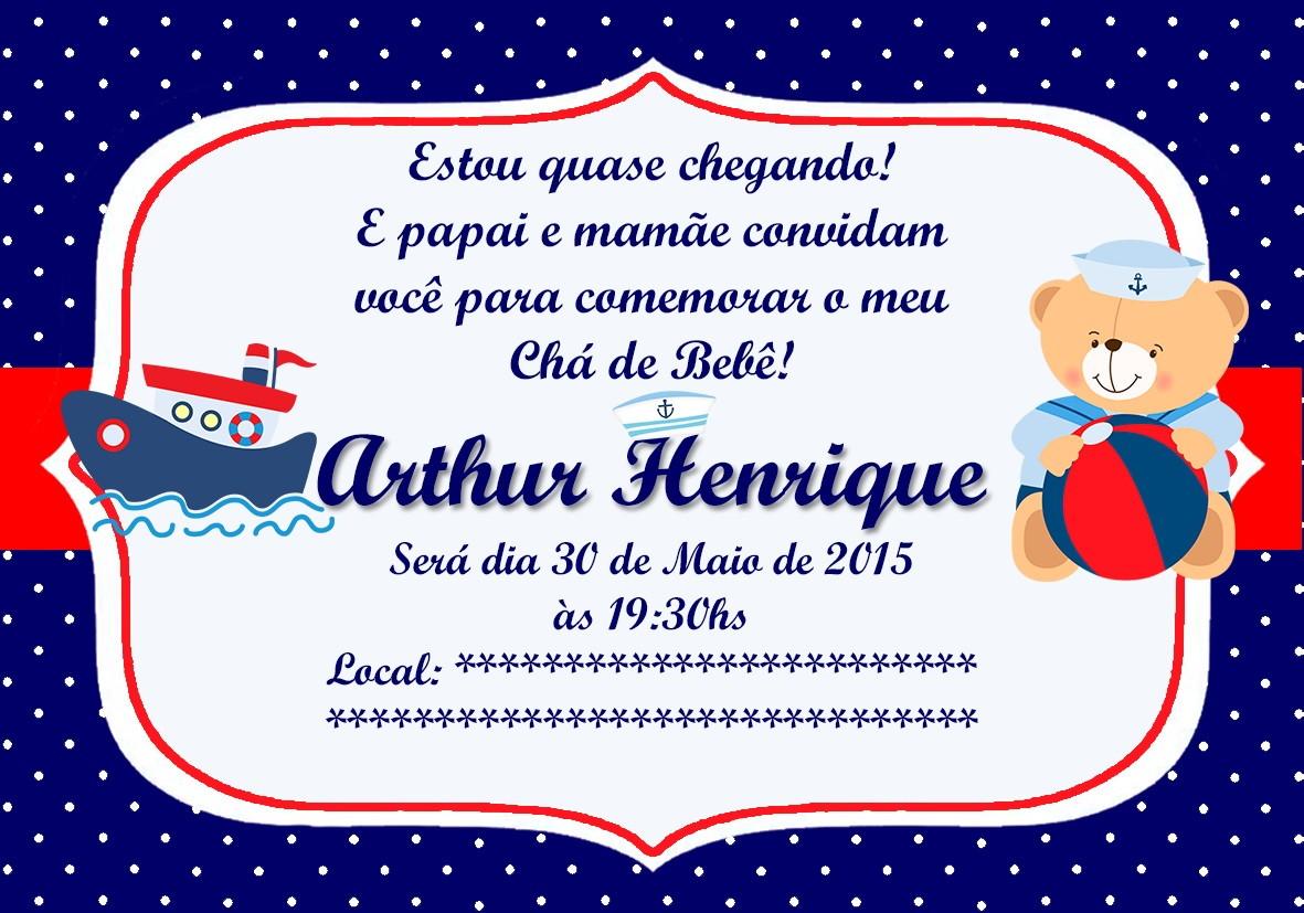 Preferência Convite digital chá bebê urso marinheiro no Elo7   WANESSA SIMOES  PD83