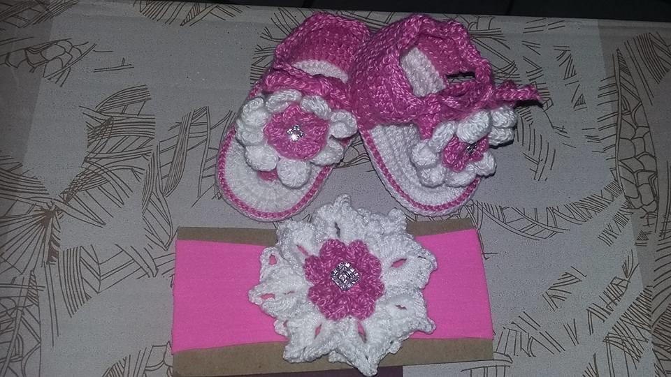e350807235 kit de sandalia e tiara para bebe no Elo7