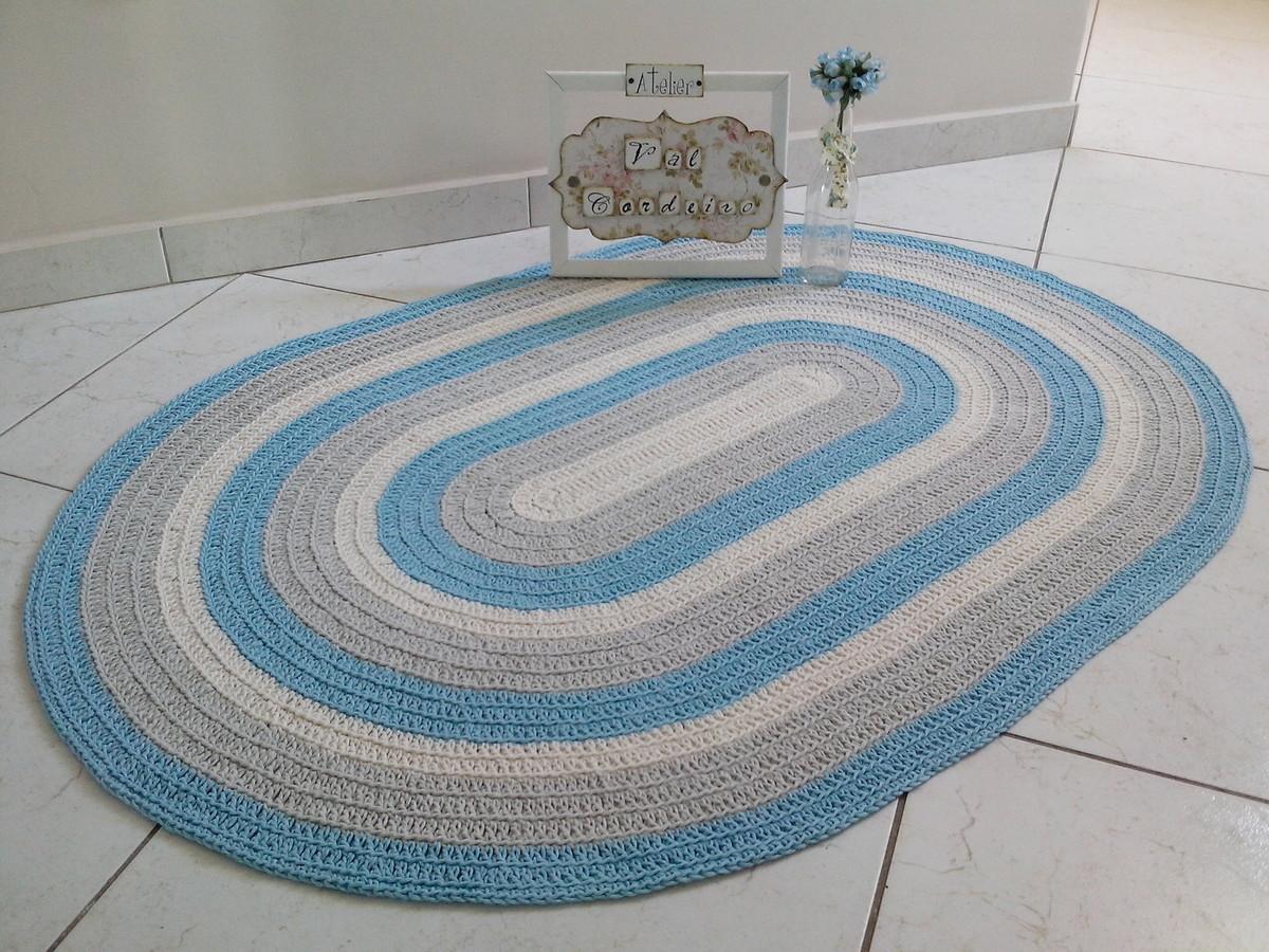 Tapete crochê baby oval azul Atelier Val Cordeiro Elo7 ~ Tapete Para Quarto Azul