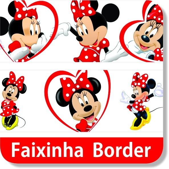 Papel De Parede Adesivo Herois ~ Faixa Border Minnie Mouse Parede Mundo do adesivo Elo7
