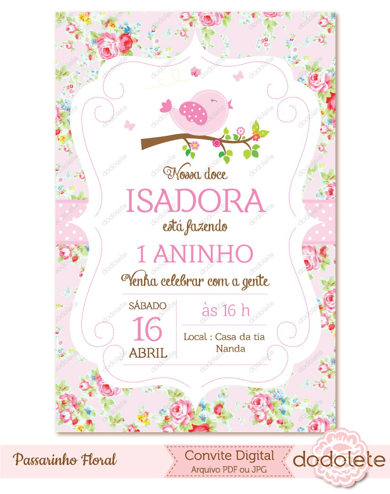 Convite Digital Passarinho Floral No Elo7 Dodolete 6f31b1