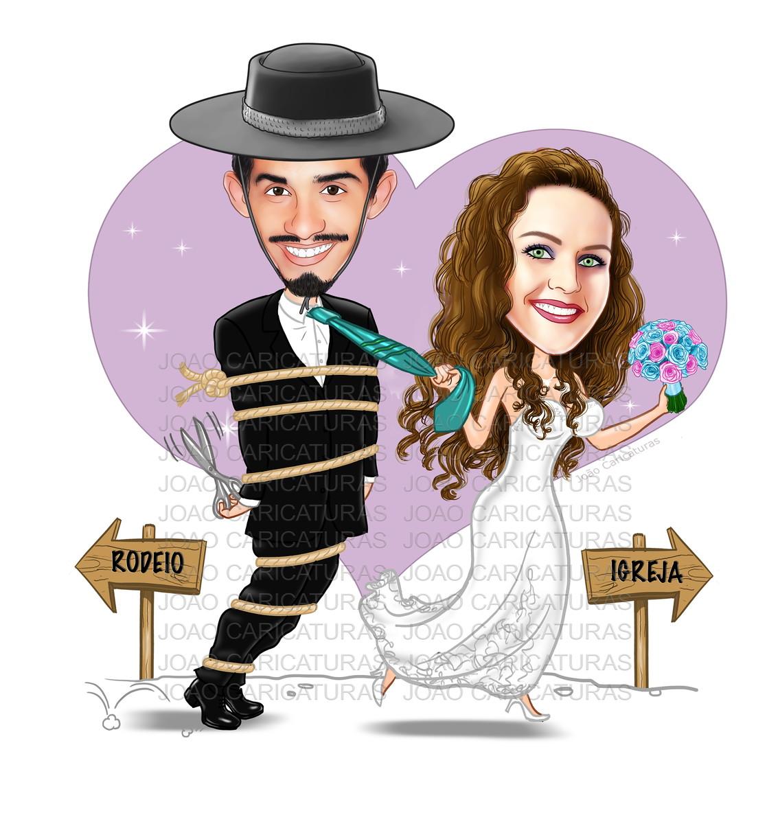 Caricatura Digital De Casal Puxando Pela Gravata Tema Gaucho No
