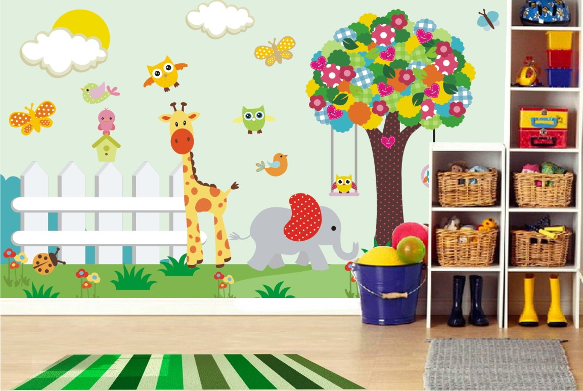 Papel de parede infantil arvore zoo 05 quartinhodecorado - Papel de pared infantil ...