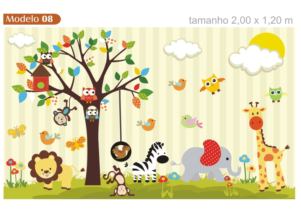 Papel de parede infantil arvore zoo 08 quartinhodecorado - Papel de pared infantil ...