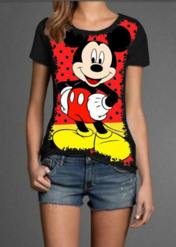 9fa7d1ea4 Camiseta Mickey Feminina no Elo7