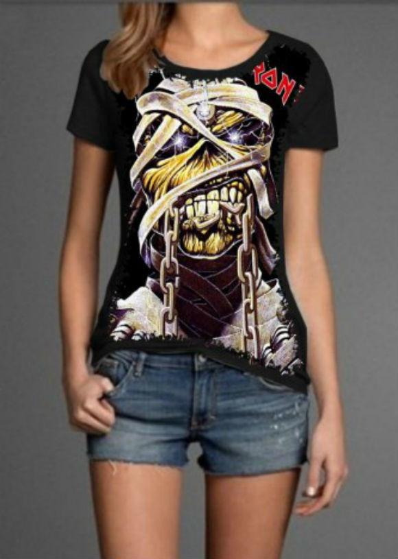 bf067b9246 Camiseta Iron Maiden Feminina no Elo7