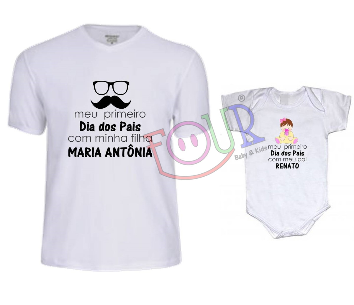 6d0c641fb2a6db Kit Camiseta e body Pai/Filha DP17 Dia dos Pais