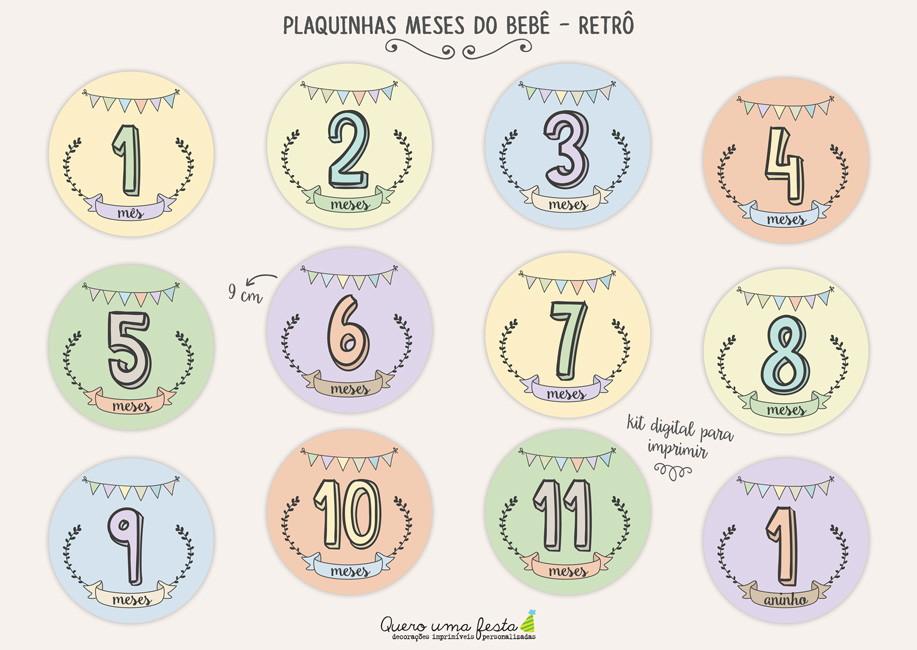 Armario Para Cozinha Pequena De Parede ~ Placa Meses do Beb u00ea Retr u00f4 para imprimir no Elo7 Quero uma festa (70F4FC)