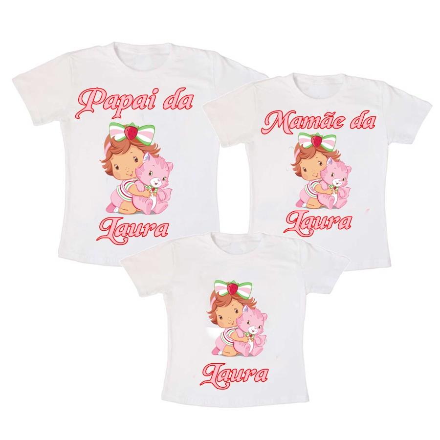 Kit 3 Camiseta Moranguinho no Elo7  4b86d481263