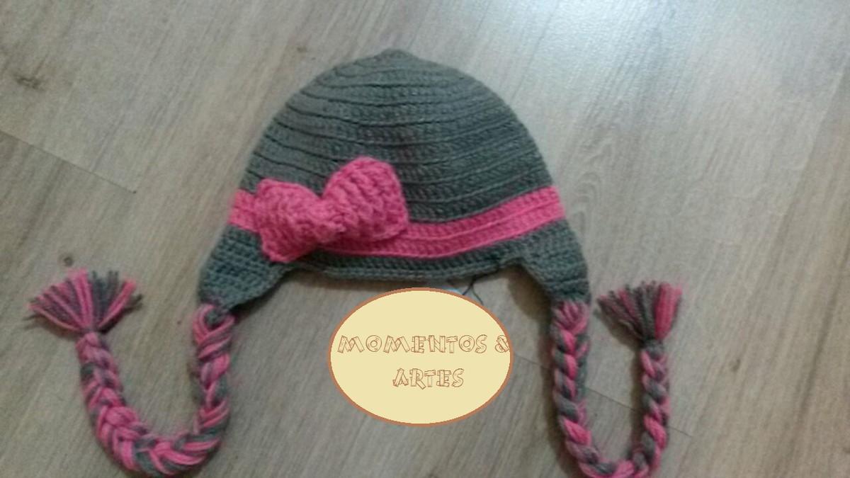 a2205c88d36a1 Touca de Crochê rosa e cinza laço no Elo7