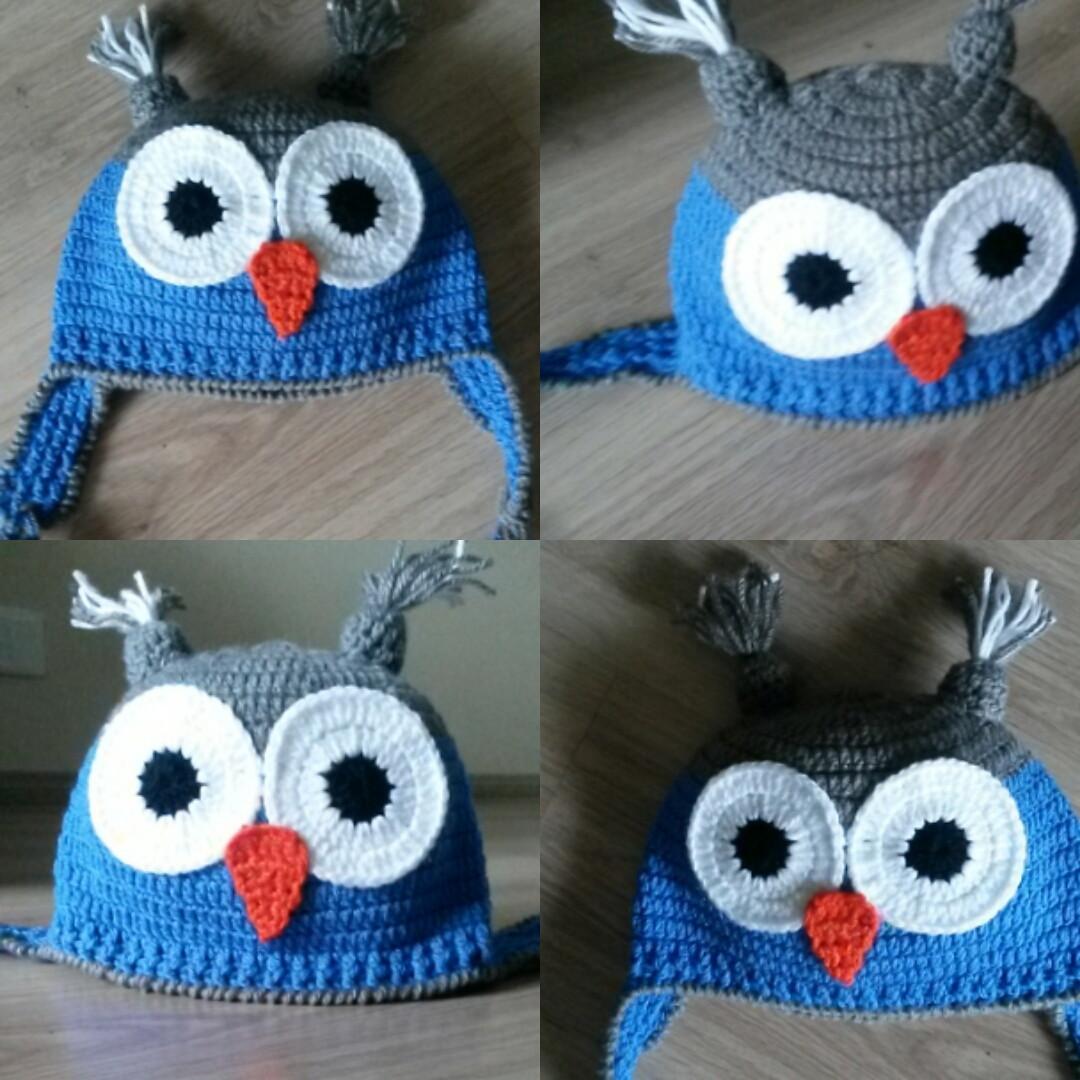 Touca de Croche corujinha azul no Elo7  98b1c8e1067