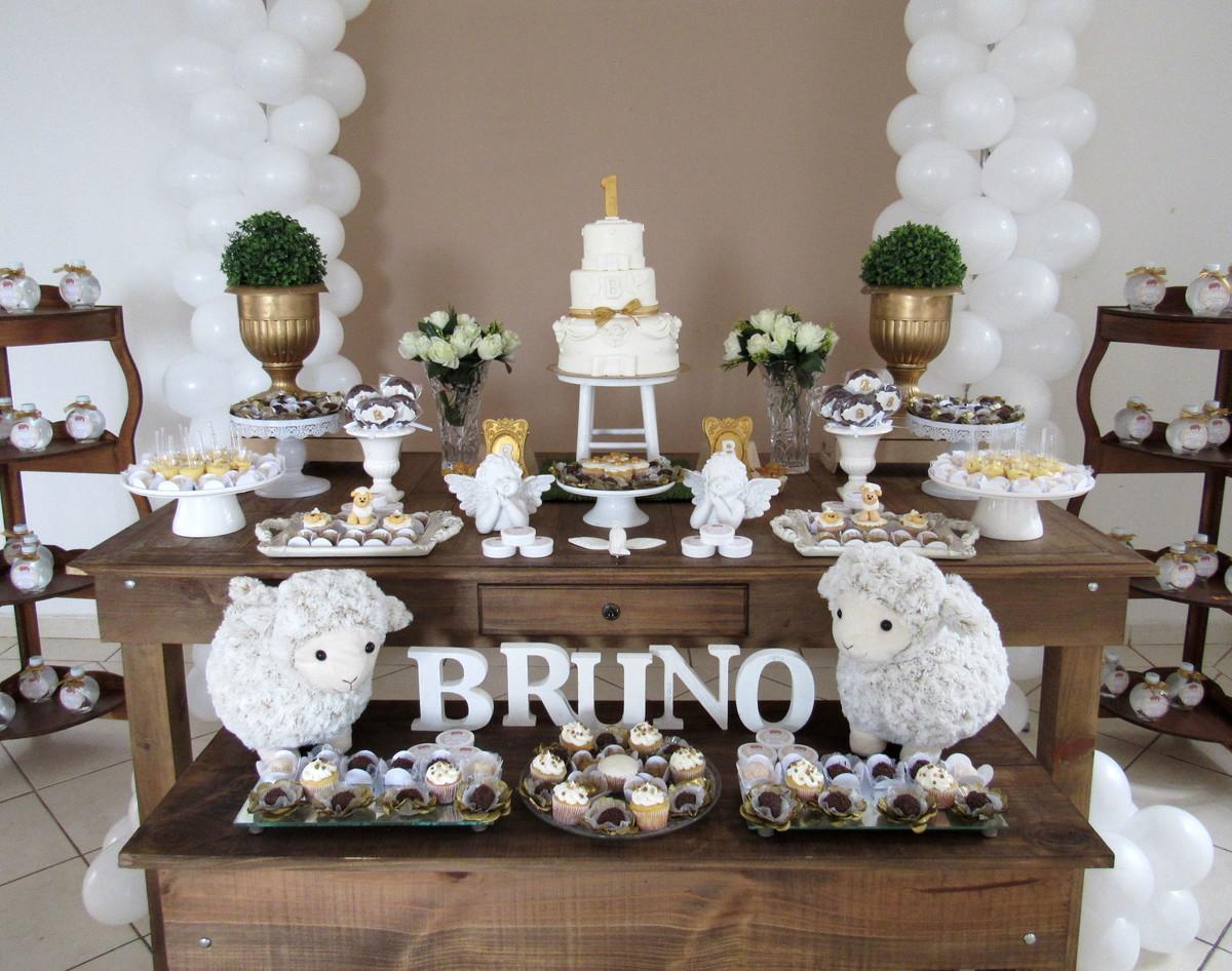 Decoraç u00e3o batizado ovelhinha, bolo, doce no Elo7 Atelier Mirucha Flore Cake designer (71804A) -> Decoracao De Batizado Branco Com Dourado