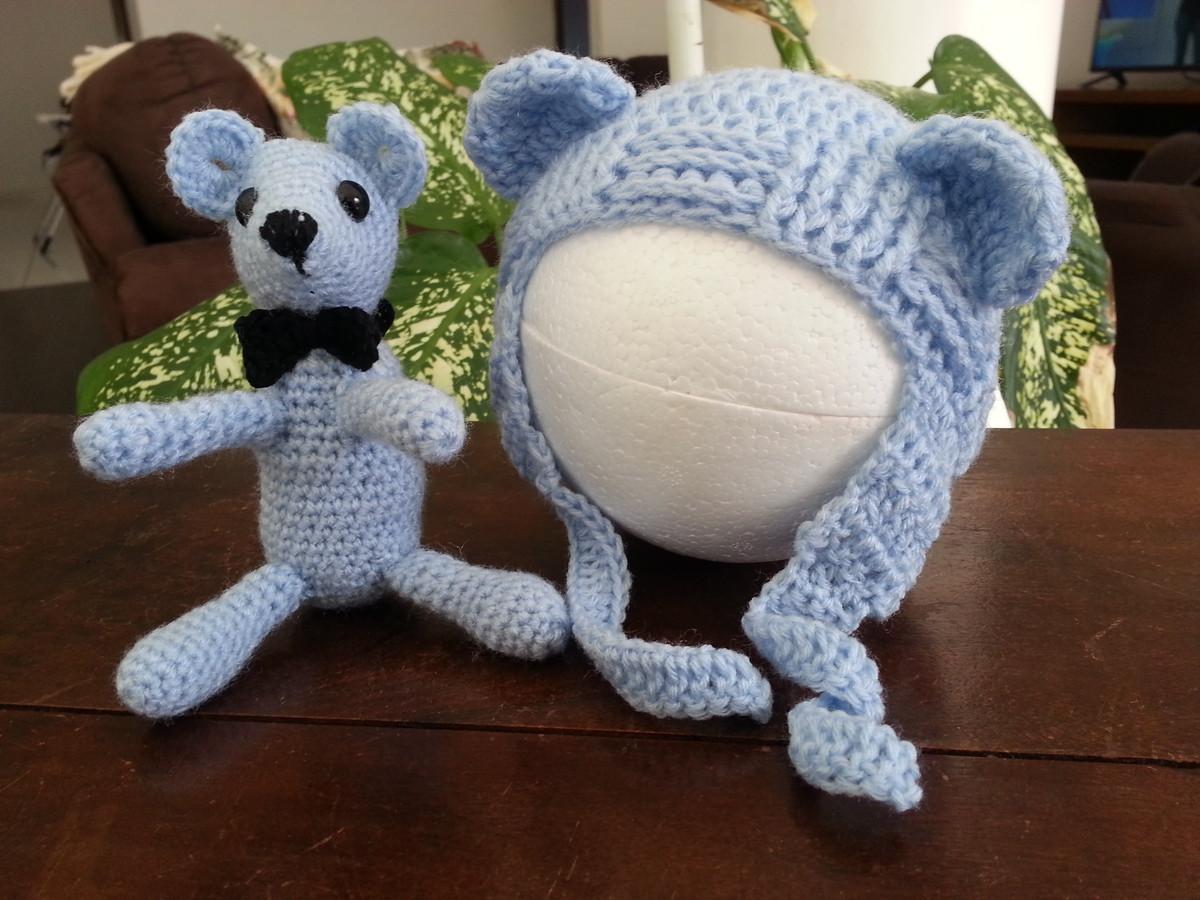 Conj. Urso e Touca Azul - Newborn no Elo7  4d6af52ef56