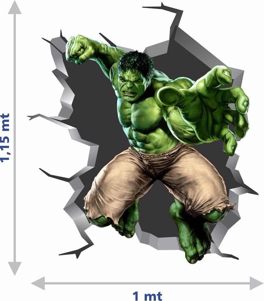 Adesivo De Quarto Infantil ~ Adesivo Parede Hulk 3D Mundo do adesivo Elo7