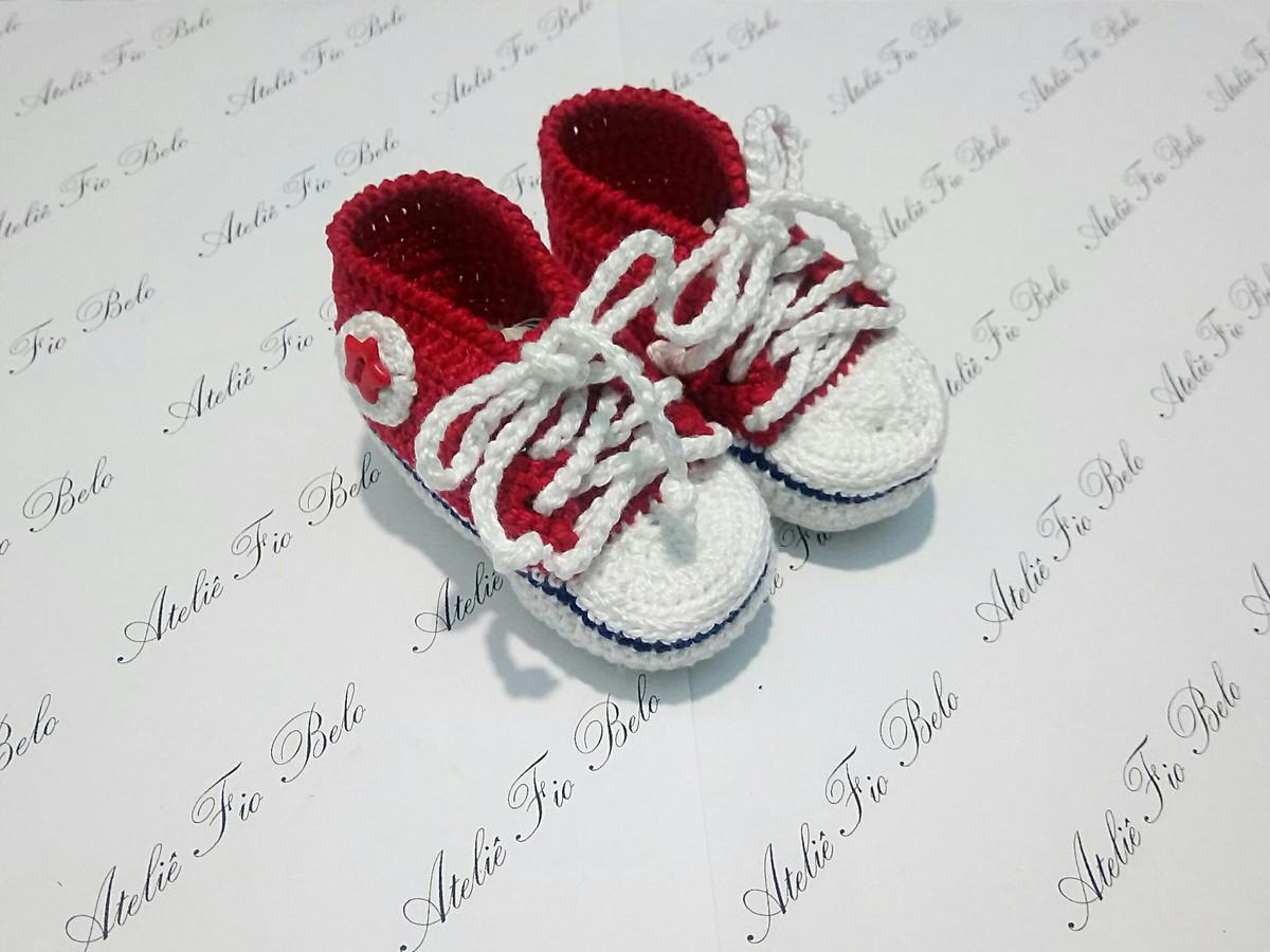 e8d09d30daf Tênis All Star Baby Vermelho em crochê no Elo7