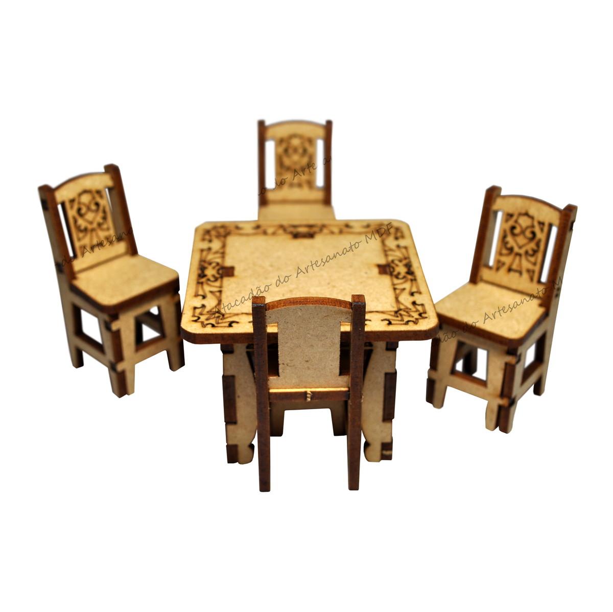 Mesa com 4 cadeiras 3d miniatura mdf no elo7 atacad o do for Mobilia anos 40