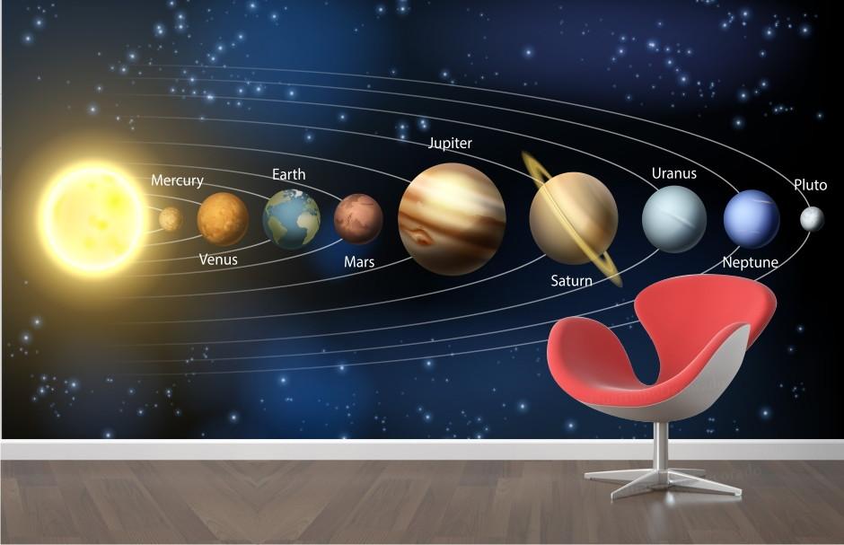 Muitas vezes Papel de Parede Planeta Sistema Solar M2   QuartinhoDecorado   Elo7 KH48