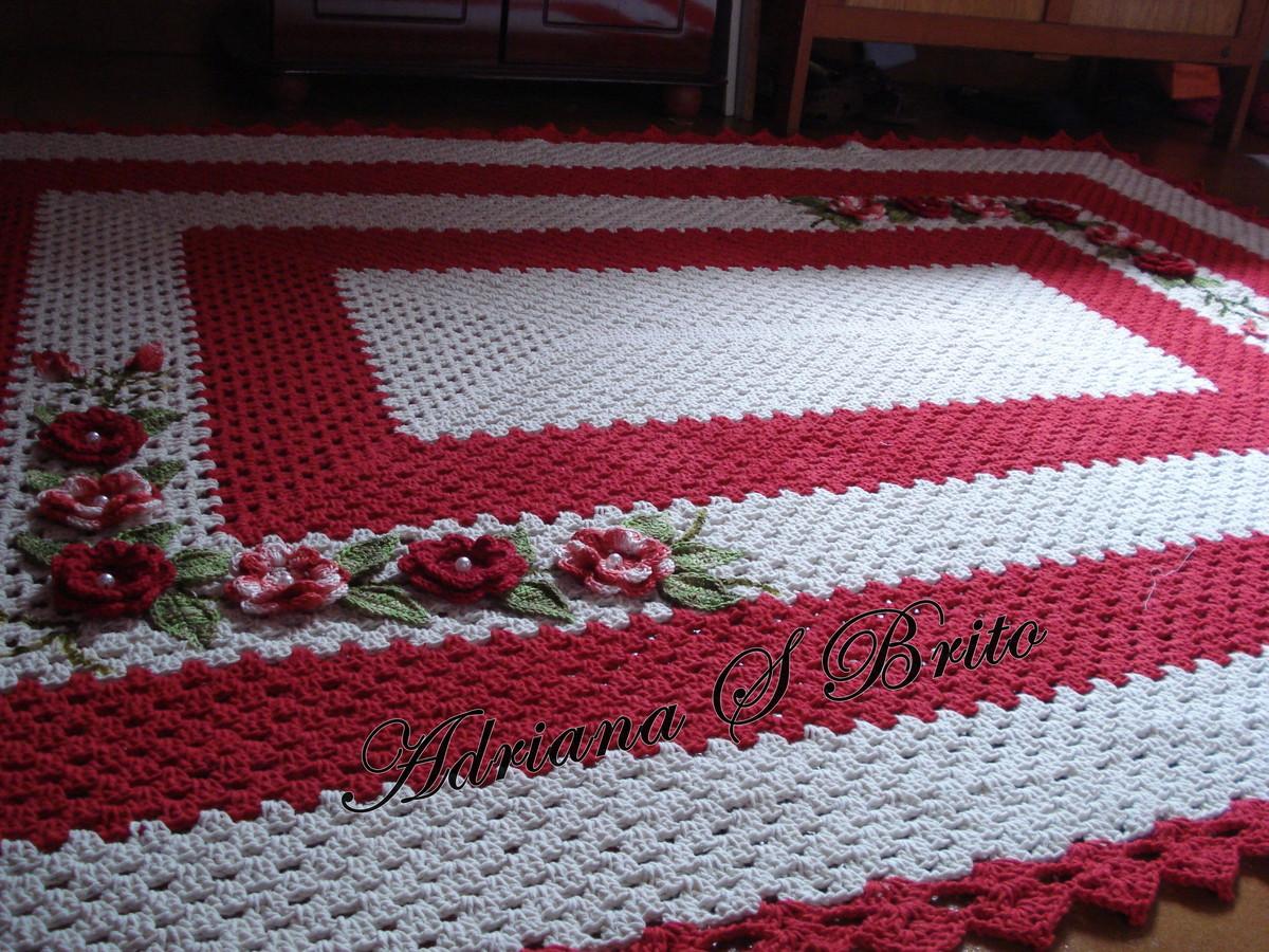 Tapete de sala retangular | Adriana S Brito Crochês | Elo7