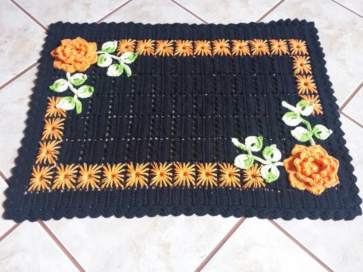 tapete de crochê retangular bordado laranja