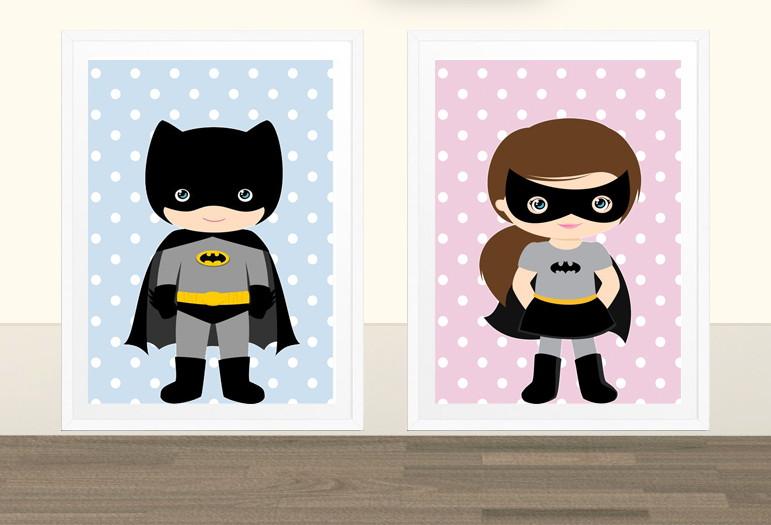 Muito Kit Batman e Batgirl - Quadro infantil no Elo7   Faço Ideia (731FE8) AJ03