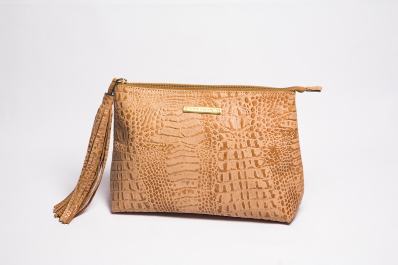 778d8721d Clutch de couro natural nude croco no Elo7 | PATRICIA HENRIQUES (732BD1)