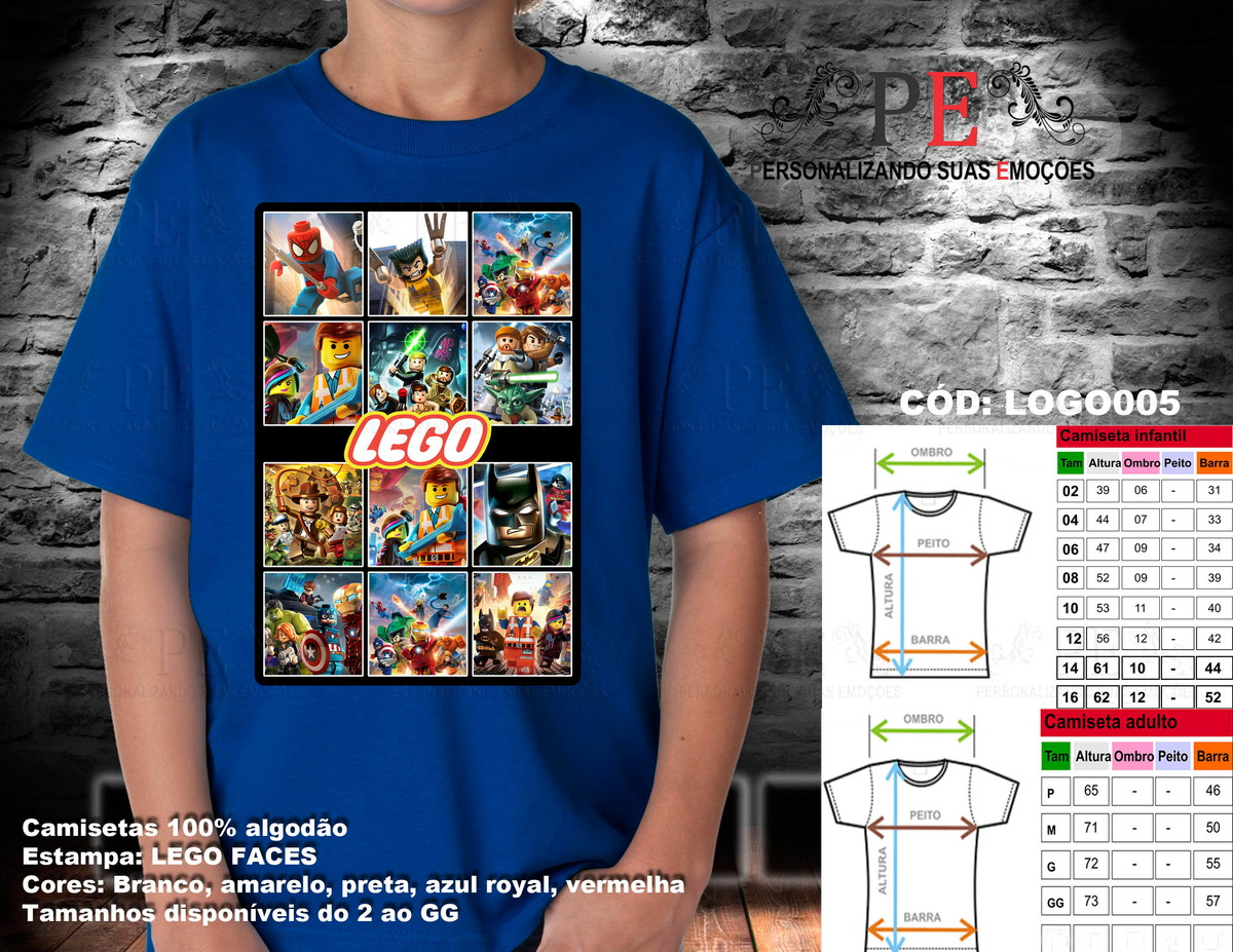 Camisetas Lego Faces no Elo7  e87da8af62631