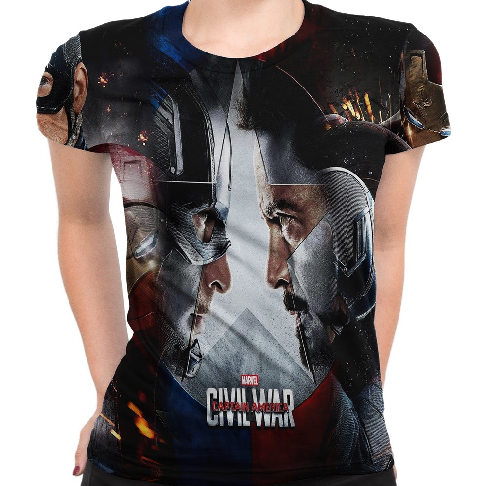 Baby Look Feminina Guerra Civil Marvel no Elo7  5b2d715937bad
