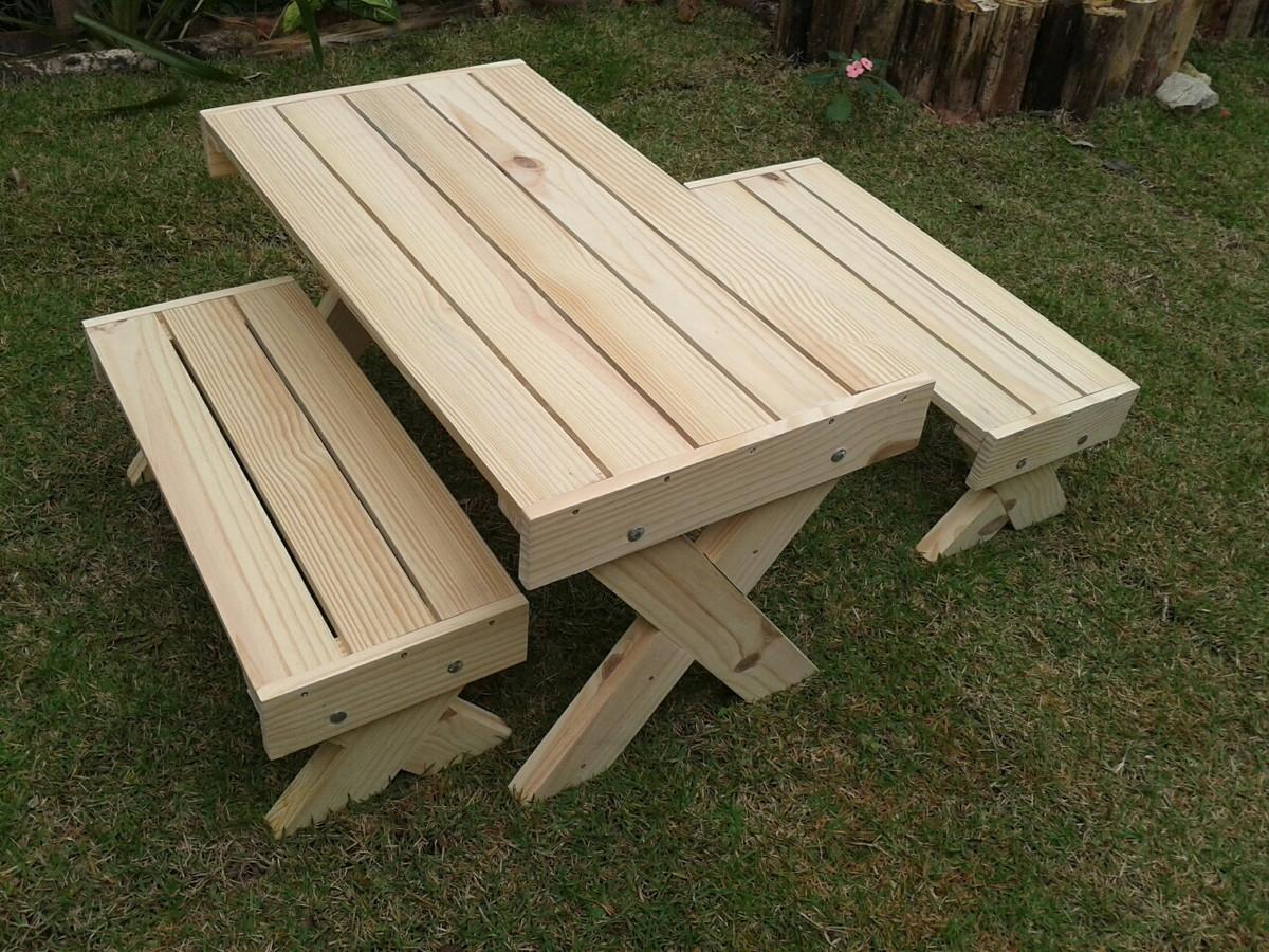 Conjunto mesa e bancos infantil madeira no elo7 elos for Modelos de mesas para cafeteria