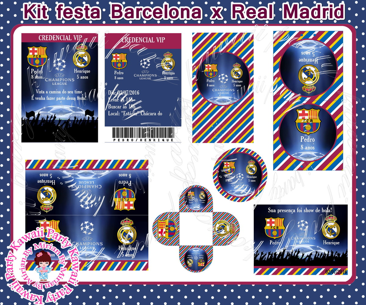 Kit digital Barcelona x Real Madrid no Elo7  b274e7de865b2