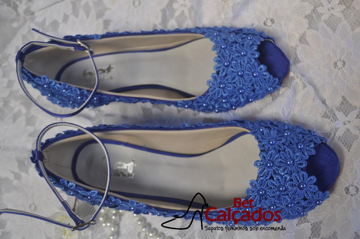 44bcdc333 Sapato LUXO renda Guipir azul Royal no Elo7 | Bet Calçados (74B5B0)