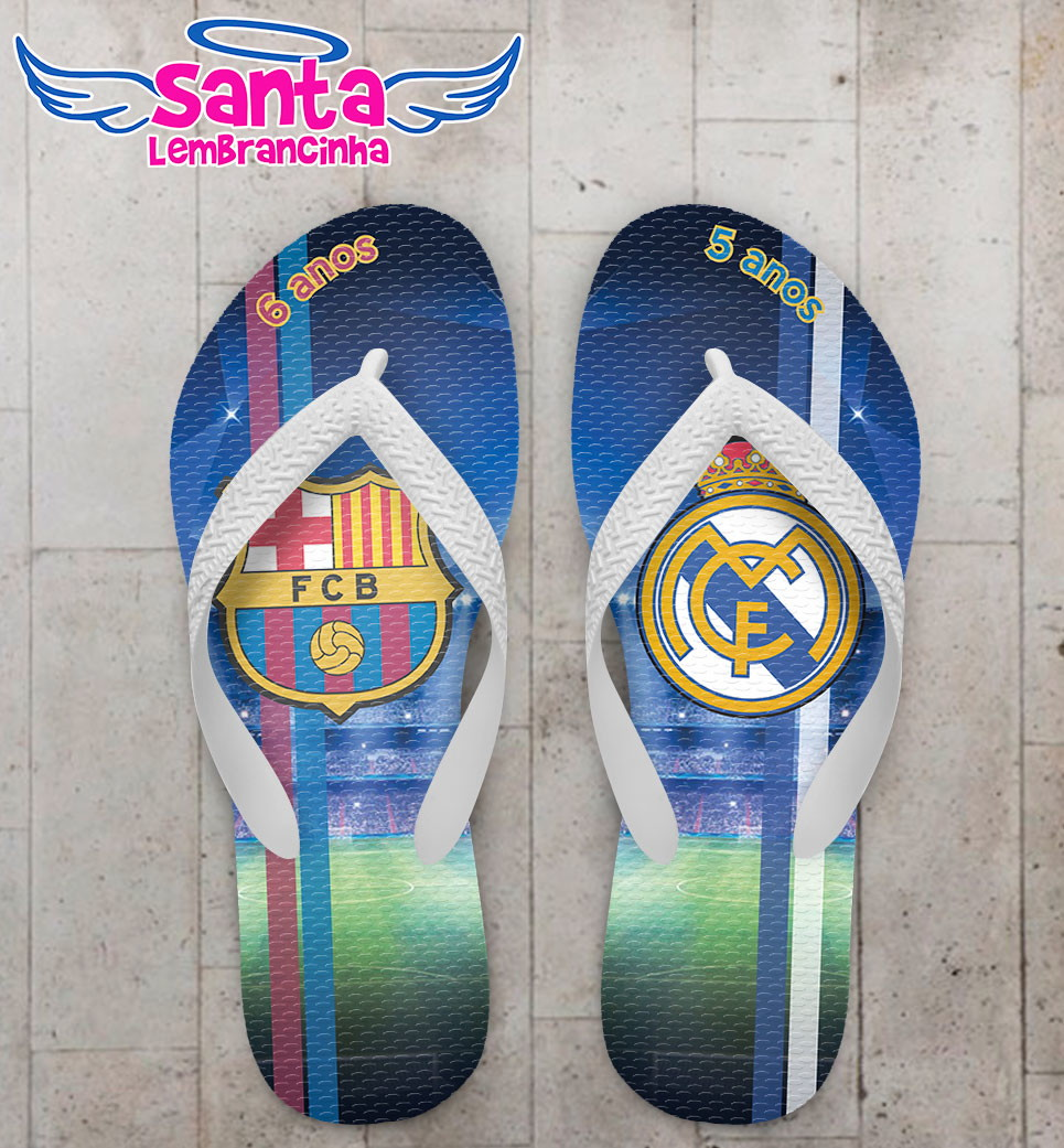 8025a0eb26 Chinelo Futebol Barcelona e Real Madrid no Elo7