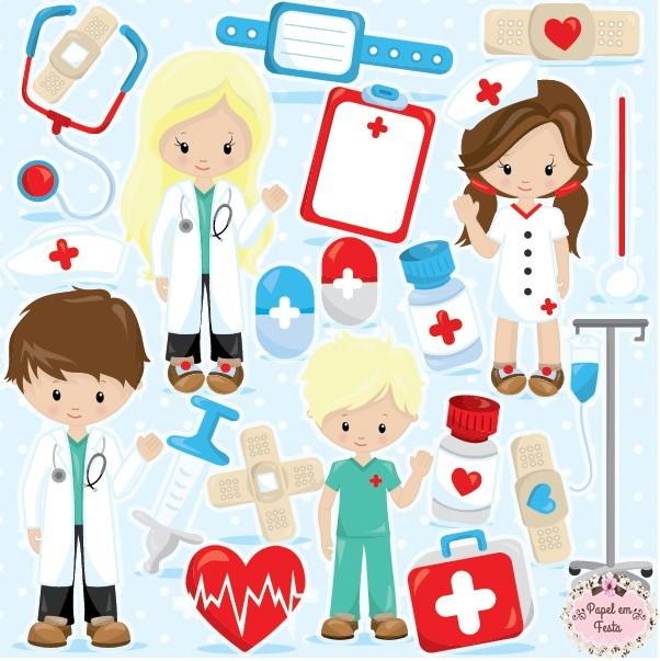 Kit Digital Enfermagem no Elo7 Papel em Fest@ (7456EF) -> Decoração Festa Enfermeiro
