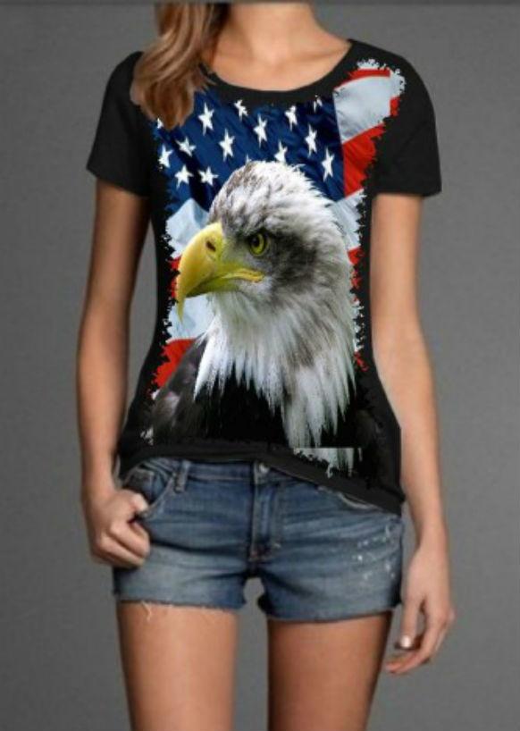 Camiseta Águia Estados Unidos Feminina no Elo7  5078b155d61e7