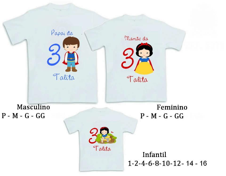 3a7aea4bdd434 Kit 3 Camisetas Branca de Neve Cute no Elo7
