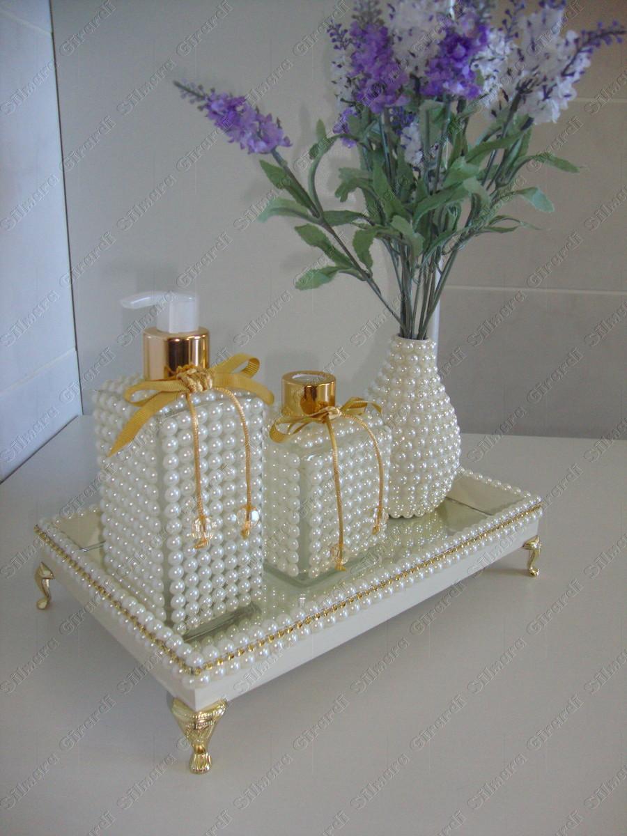 Kit de lavabo ou banheiro  Madrinha Arteira  Elo7 -> Kit Banheiro Acrilico Decorado