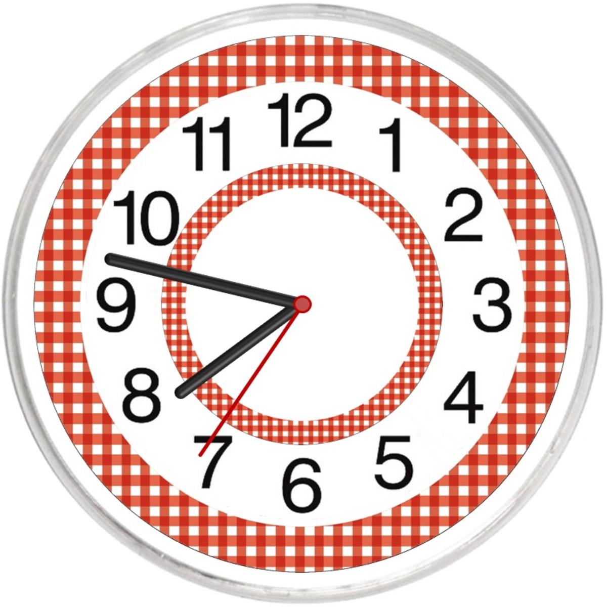 Relógio Parede Cozinha Xadrez Vermelho No Elo7