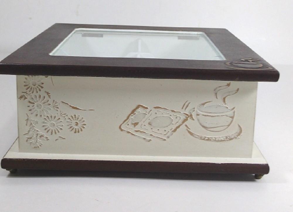 809562a28fb caixa madeira de chá com tampa de vidro no Elo7