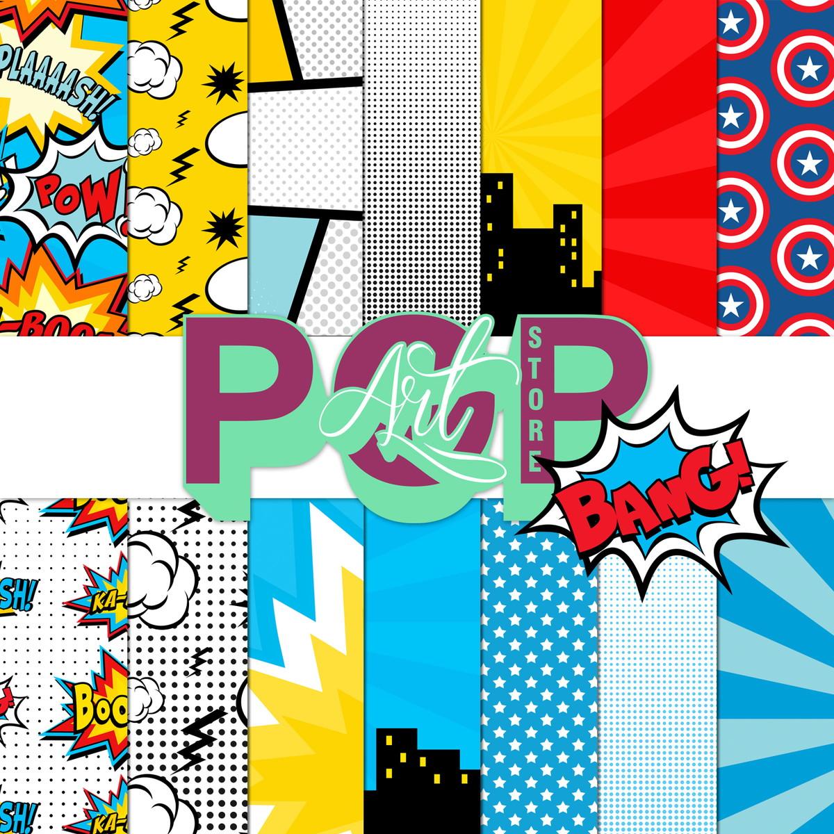 Kit papel digital festa super her i pop art store elo7 - Papel pared comic ...
