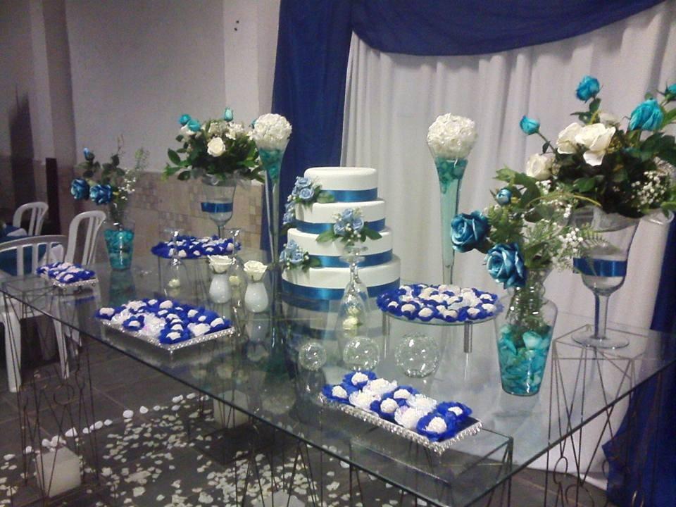 Decoraç u00e3o Casamento Azul e Branco Anabelle Decorações Elo7