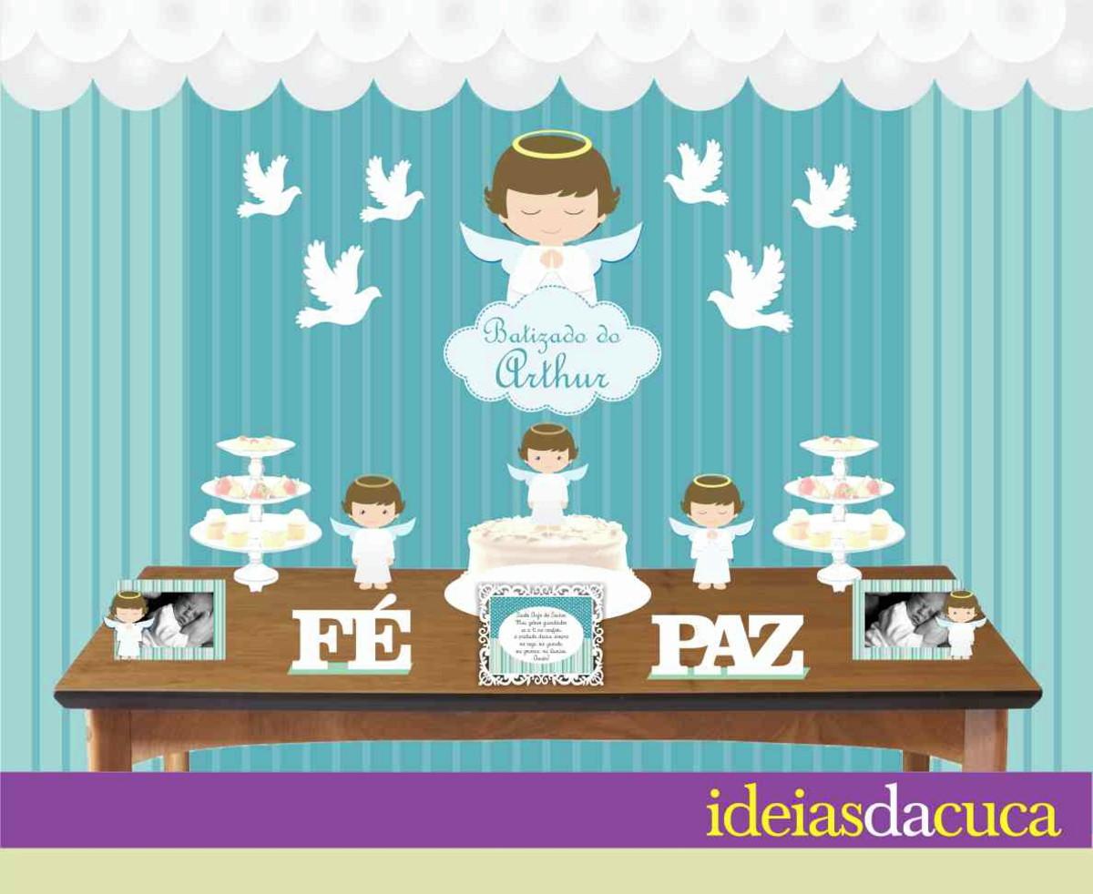 Kit Festa Decoraç u00e3o Completa Batizado no Elo7 Ideias da Cuca (766C38) -> Decoração Batizado Faça Voce Mesmo Simples