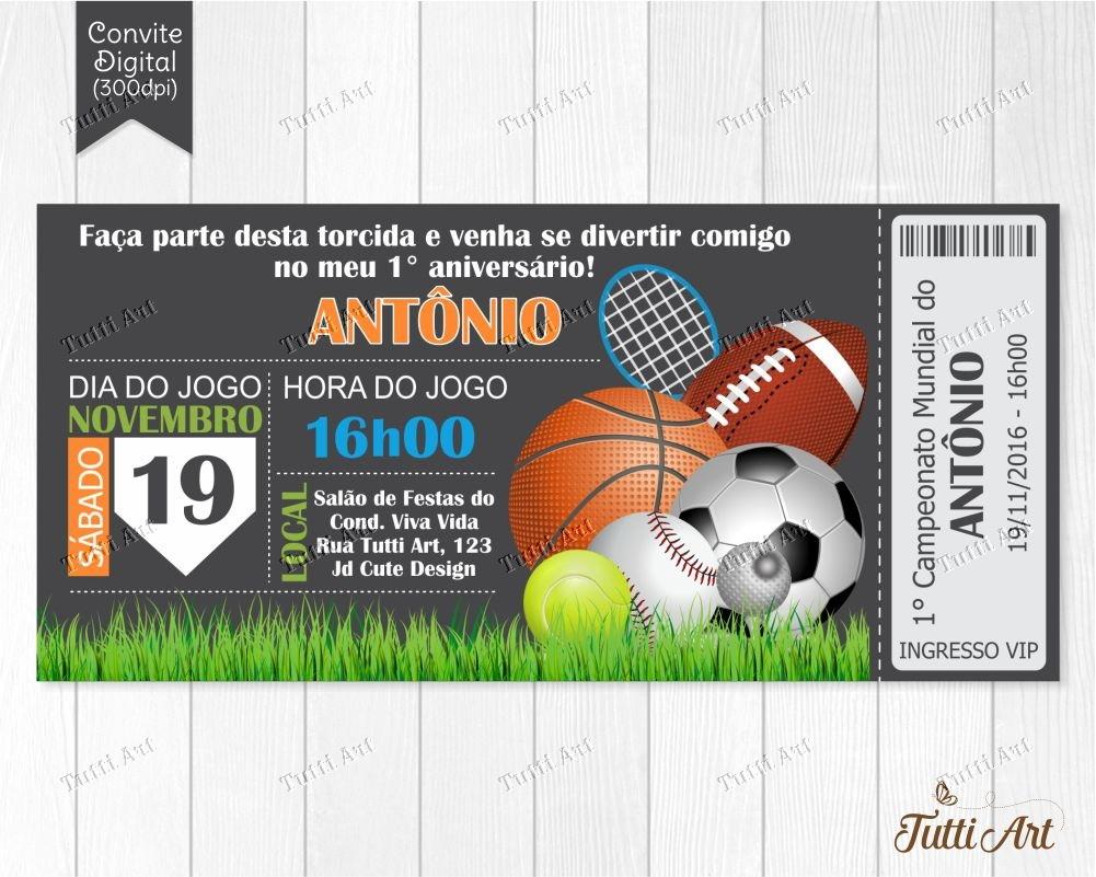 91e2bf538 Convite Futebol Bola Esporte - Digital no Elo7