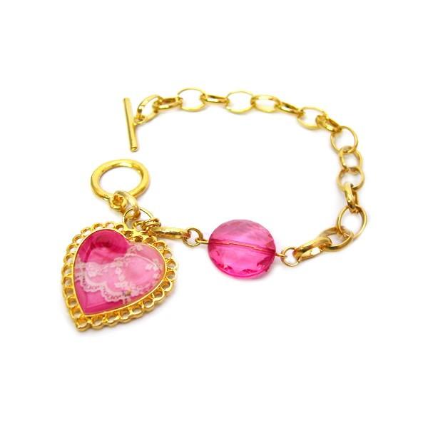 dfdd495eab51c Pulseira Dourada Pingente Coração Rosa no Elo7   AMO DEMAIS ...