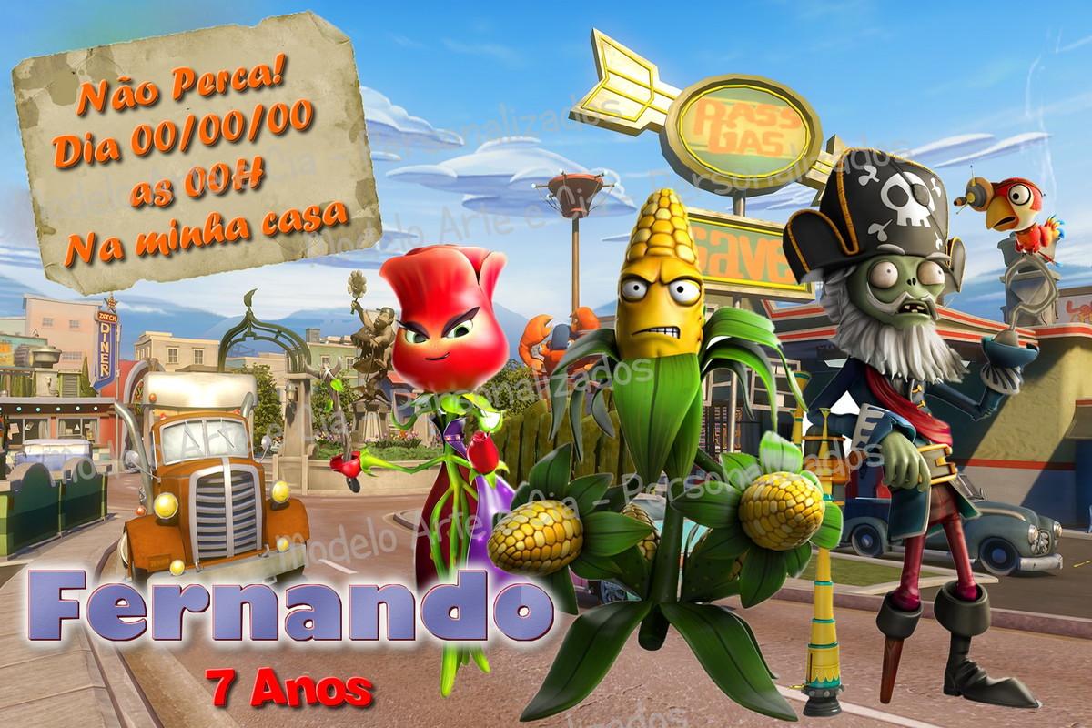 Convite Plants Vs Zombies Garden Warfare No Elo7 Arte E Cia Personalizados 772265